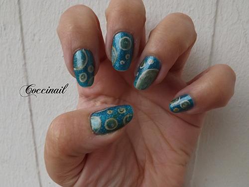nail art bulles dorees