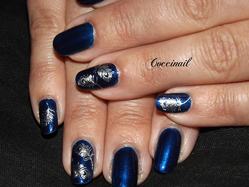 Nail art wd plumes argentées