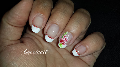 Rose one stroke sur french blanche