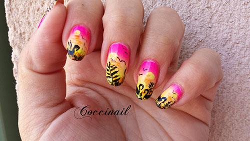 repro nail art flamingo de Sakura