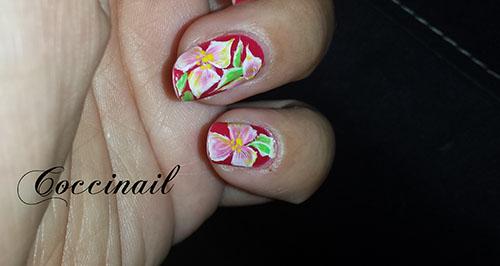 accent nail fleuri